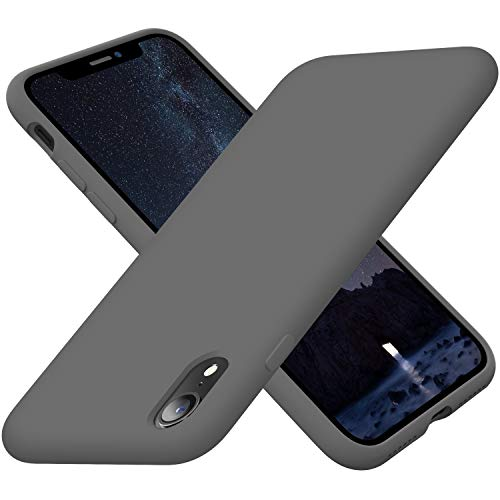 Cordking iPhone XR Case for Girls, Silicone Ultra Slim Shockproof Phone Case with [Soft Anti-Scratch Microfiber Lining], 6.1 inch, Space Gray