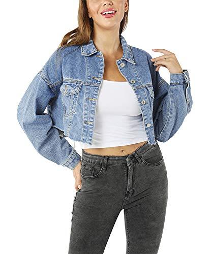 YoungSoul Damen Kurze Oversize Jeansjacke mit Rissen und ausgefranstem Saum, Blau, EU S