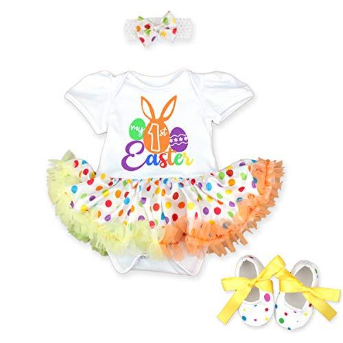 FYMNSI Conjunto de ropa para recin nacida para nia de 1 Pascua, disfraz de princesa tut con estampado de huevo de conejo de manga corta y zapatos de 3 piezas