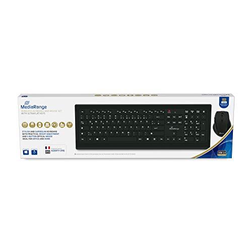 MediaRange draadloos toetsenbord en optische 5 toetsen draadloze muis set, Azerty (FR), zwart