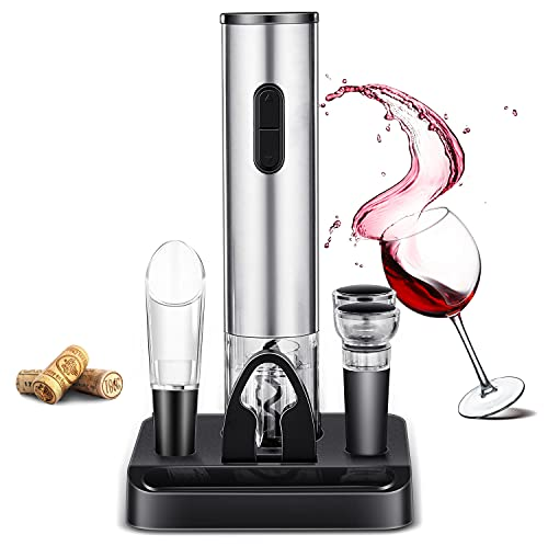 Electric Wine Bottle Opener Set, JEEDOVIA Cordless Electric Corkscrew Automatic Wine Opener with Foil Cutter,Wine Pourer, Vacuum Wine Stoppers, Wine Bottle Openers with Accessories for Kitchen Home