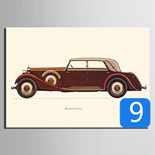 baodanla Frameless retro auto serie decoratieve schilderij frameloze schilderijen
