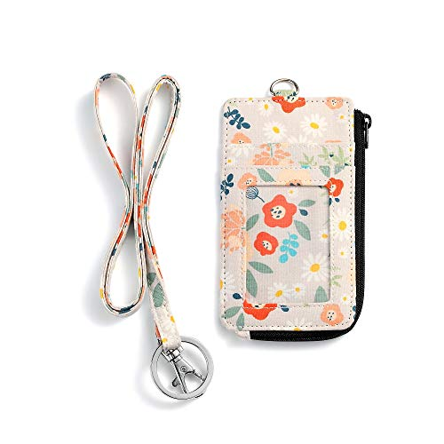 Fashion Badge Holder with Zipper,Cute ID Badge Card Holder Wallet with Lanyard Strap for Offices ID, School ID, Driver Licence