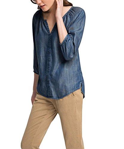 edc by ESPRIT Damen 036CC1F022-im Denim Look Bluse, Blau (Blue MEDIUM WASH 902), 40 (Herstellergröße: L)