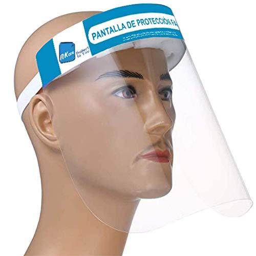 NK - Pack 10 unidades - Pantalla Protección Facial Transparente, Pantalla Protectora Cara, Protector Facial, Visera Protectora con cinta ajustable (x10)