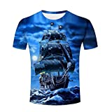 Camiseta de los Hombres Fashion Fantasía Piratas Barcos 3D Imprimir Manga Corta Tees L