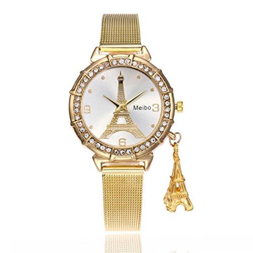 ZLOLIA – Reloj de pulsera de cuarzo de acero inoxidable para mujer, diseño de torre Eiffel, Dorado