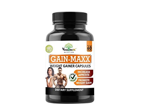 VEDA MAXX GAIN MAXX Weight Gainer Capsules Supplement for Increase Appetite & Promote Weight Gain 100% Natural Vegetarian Tablet (Pack of 01 –contain 60 Capsules)