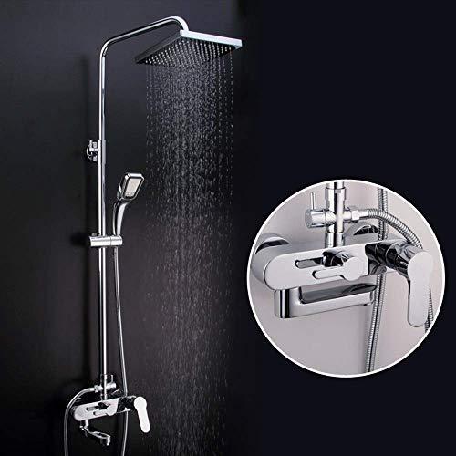 YASEking La plata moderna Baño juego de ducha de mano de cobre Booster sistema de ducha 3 Función superior cuadrada del aerosol con el grifo de elevación de Rod Hermosa práctica