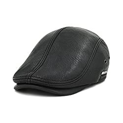 LETHMIK Flat Cap Cabby Hat Genuine Leather Vintage Newsboy Cap Ivy Driving Cap Second Version Black-XL
