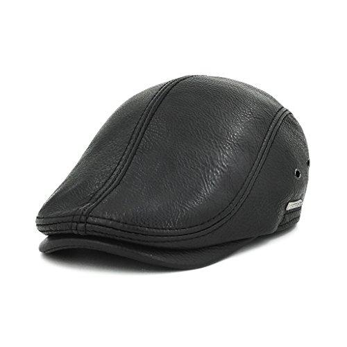LETHMIK Flat Cap Cabby Hat Genuine Leather Vintage Newsboy Cap Ivy Driving Cap Second Version Black-L