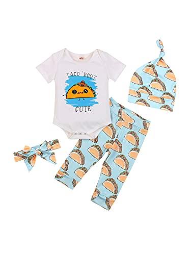 Conjunto de 4 piezas para recién nacidos y niñas de manga corta con estampado de dibujos animados + pantalones + sombrero + diadema