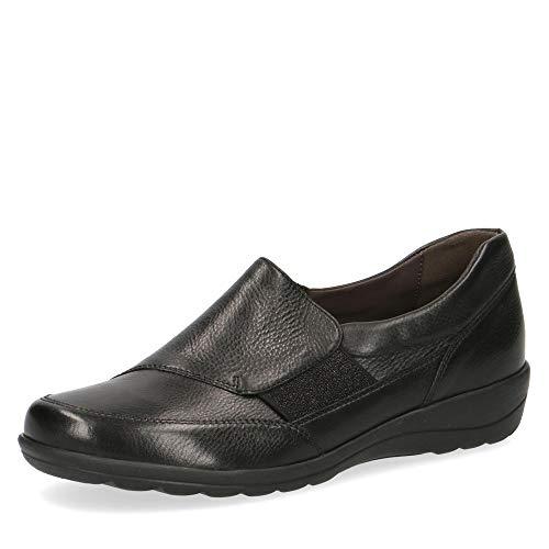 CAPRICE 24601-23 Damen Slipper aus Glattleder mit Klettverschluss in Weite H, Groesse 40, schwarz