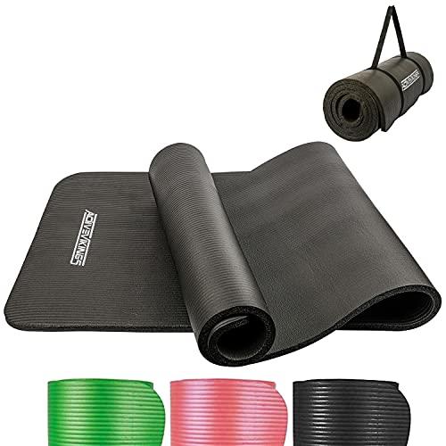 ActiveVikings® Gymnastikmatte - Ideal für Dein Workout zuhause oder im Gym - Fitnessmatte Sportmatte Yogamatte für Frauen und Männer 183 X 61cm 15mm (Schwarz)
