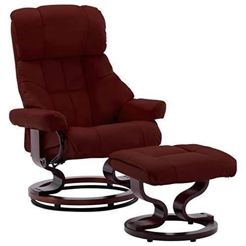 pedkit Sillones y chaises Longues Silla reclinable con reposapiés Cuero PE Madera Curvada Tinto