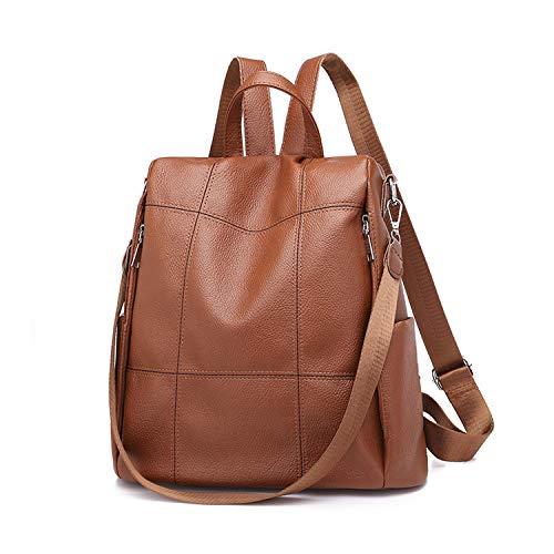 FANDARE Ladies Backpacks Women Backpack Casual Daypacks Anti-Theft Shoulder Bags Girls School Bag Lightweight Rucksack Bookbag Travel College Pack Waterproof PU Brown D