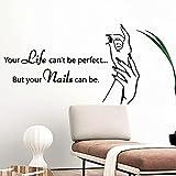Etiqueta engomada de la pared del arte de la pared del salón de uñas de la historieta Material de Pvc decoración de la habitación de los niños calcomanía de vinilo -85.5x142.5cm