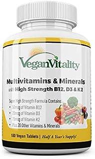 Multivitaminas y minerales veganos con vitamina B12, D3 y K2 de alta resistencia. 180 tabletas multivitamínicas - 6 meses de suministro. Diseñado para veganos y vegetarianos