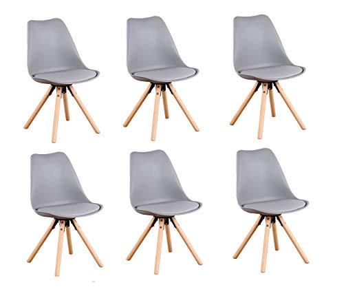 N/A Un conjunto de 6 modernas sillas de comedor de mediados de siglo, con patas de haya, adecuado para comedor, cocina, dormitorio, sala de reuniones, sala de estar (gris)