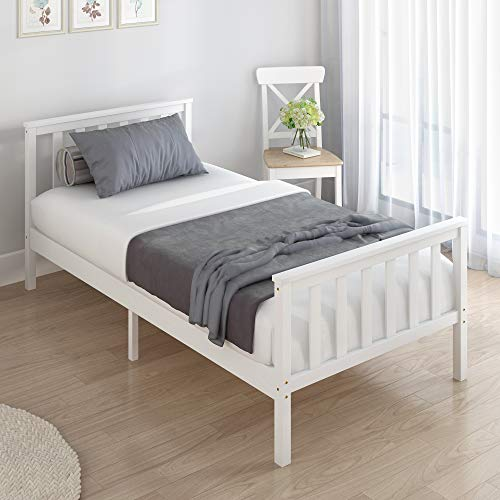 Panana Single Bed Frame, Solid Wooden Bed, Pine Bed frame 3ft, White Wood