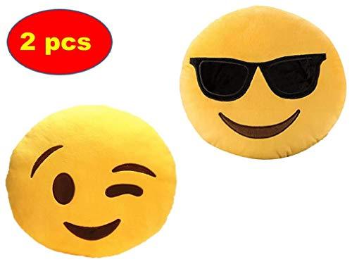 ML Pack 2 x Cojín Emoji Sonrisa, Almohada Emoji Emoticon Relleno Suave Juguete de Peluche (Amarillo-Gafas)