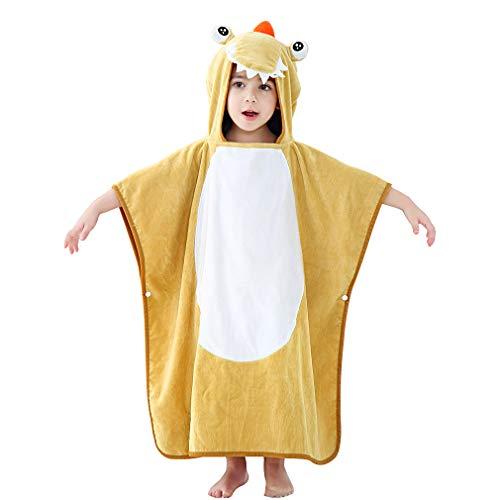 MICHLEY capuchon babydeken handdoek kinderen badponcho meisje badjas 70x70cm katoen dier badhanddoeken voor 2-6 jaar Eén maat Gele krokodil