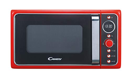 Candy, Divo G20CR, Microondas con grill 20l, 1200W, 9 programas, Express cooking, Temporizador, Display digital circular, 6 niveles de potencia, Color rojo