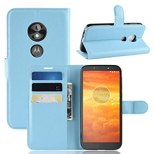 LMFULM® Hülle für Motorola Moto E5 Play (5.3 Zoll) [Fit UK Version only] PU Leder Magnet Brieftasche Lederhülle Handytasche Litschi Muster Standfunktion Ledertasche Flip Cover Blau
