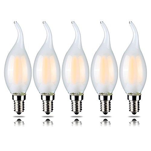 Dimmbare LED-Kerzen mit gebogener Spitze, 4W, entspricht einer 40-W-Glühbirne, mit E14-Fassung, 2.700K, warmweiß, 5 Stück, YT-C35T-4, E14, 4.00 wattsW 230.00 voltsV