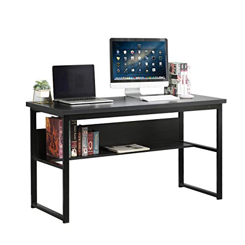 DlandHome 55inches Computer Desk with Shelf PC Trestle Desk Office Desk Writing Table Workstation Table for Home Office, LD-JB01BW