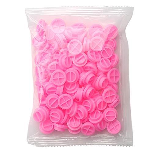 Minkissy 100 Pzas Extensión de Pestañas Tazas de Pegamento de Plástico Rosa Extensión de Pestañas Soporte de Pegamento Plástico Almohadilla de Paleta Organizador de Pestañas Suministros