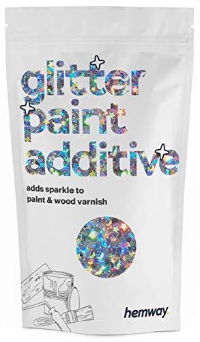 Hemway Glitzerlackzusatz Mischfarben auf Wasserbasis für Wand Decke - 100g - Silberne holografische Sterne und Monde