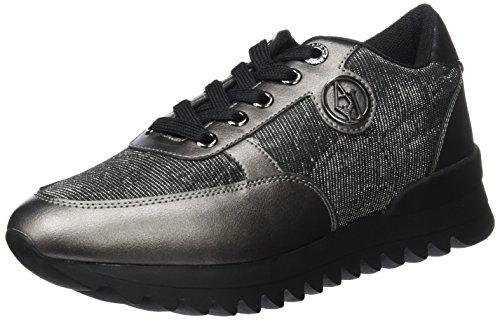 Armani Jeans Damen Runner Sneaker, Schwarz (Nero), 41 EU