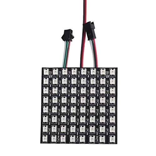 BTF-LIGHTING WS2812B Alambres de aleación ECO RGB 5050SMD Direccionable individual 8X8 64 píxeles Matriz de LED FPCB flexible A todo color Funciona con K-1000C, SP107E, etc. DC5V