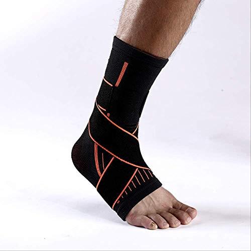 LYFST Soporte de tobillo Nylon elástico Vendaje para el tobillo Soporte Cubierta del pie Ajustable Transpirable Elástico Anti-esguince Tobillera Muñequera M Negro