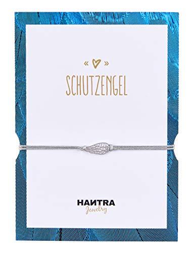 HANTRA Schutzengel Armband Damen - Anhänger aus 925er Sterling Silber - Handarbeit - Nickelfrei - Damen Armband Grau