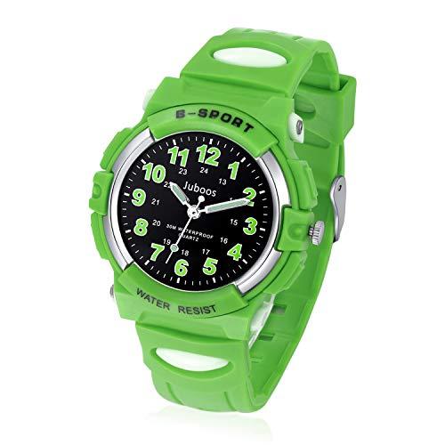 Juboos Kinderuhr Jungen Mädchen Analog Quartz Uhr mit Armbanduhr Kautschuk Wasserdicht Outdoor Sports Uhren-JU-001 (Schwarz Little Grün)