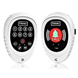 Chtoocy Rechargeable Wireless Panic Button Caregiver Pager Smart Call Transmitter with Receiver Nurse Calling Alert Patient Help System for Elderly 1000 Ft Range (1 Call Button and 1 Receiver, White)