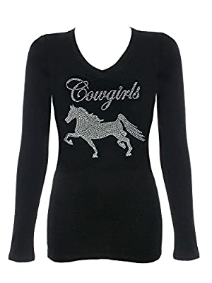 DivaDesigns Women's Cowgirl with Horse Long Sleeve Rhinestone Bling Shirt V-Neck Medium