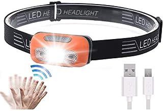 Super Bright LED Sensor Headlamp, Lightweight Waterproof Headlamps, USB Rechargeable Battery Flashlight, 5 Modes 500 Lumen...