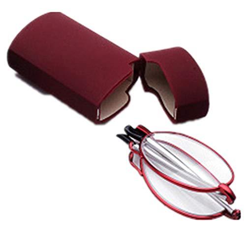 Faltbare Lesebrille aus Metall mit Teleskop-Bügeln Flip Top Etui Rechteckige hochwertige Brillengläser Lesehilfe für Damen & Herren von Mini Brille, Red, 2.0x