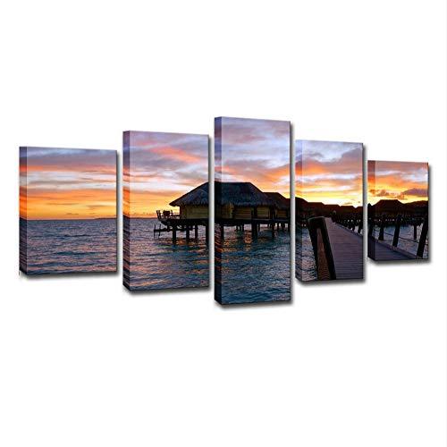 Swlyddm Leinwanddruck 5 Moderne Kunst Ölgemälde Gedruckt Wandbilder Wohnzimmer Hauptdekorationen ations Fertig zum Aufhängen - Le Taha Island Resort Landschaft