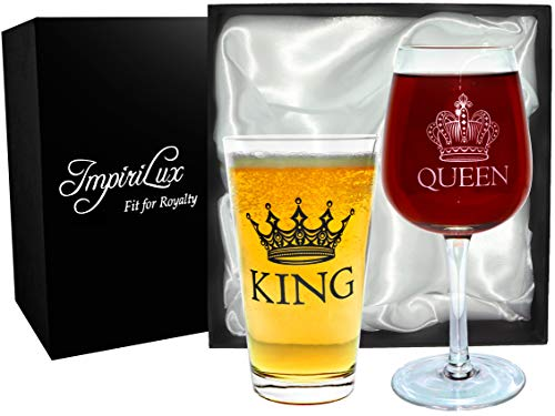 King Beer & Queen Wine Glass Set | Beautiful Gift for Newlyweds, Engagements, Anniversaries, Weddings, Parents, Couples, Christmas - Novelty Drinking Glassware (King Beer & Queen Wine Glass Set)