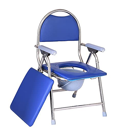 Folding chair Silla con Inodoro Plegable portátil Silla con Inodoro de Acero Inoxidable Silla Plegable portátil para Ancianos discapacitados con Respaldo y reposabrazos