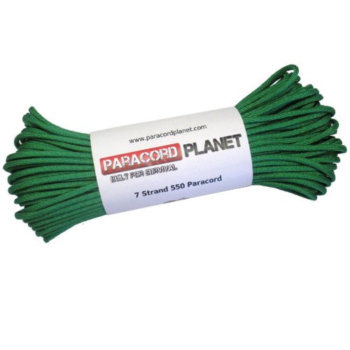 Paracord Planet 550 lb, 100 Foot Hank, Kelly Green Parachute Cord. Also known as paracord rope, parachute rope, utility cord, tactical cord, & military cord. USA made to provide durability & strength.