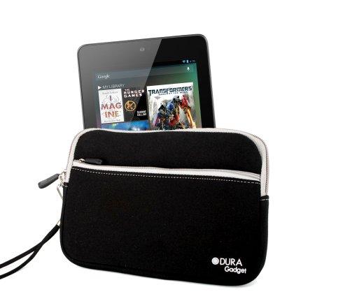 DURAGADGET Housse étui résistant en néoprène Noir + Gants capacitifs conducteurs Taille M (Moyen) pour Google Nexus 7 ASUS Tablette Android 4.1 Jellyb