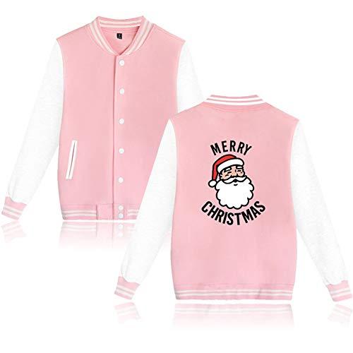 LJni Weihnachten vor Sweatshirt Weihnachten Casual Baseball Uniform Bomberjacke Cartoon Streetwear Männer Mantel,Rosa,3XL