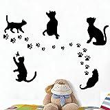 5 Big Cat set venta caliente extraíble etiqueta de la pared 5 unid gato negro decoración del hogar pegatinas DIY Home tatuajes de vinilo etiqueta de la pared