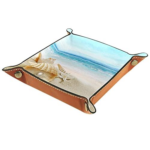 Bandeja de Cuero - Organizador - Concha de playa de verano con perla - Práctica Caja de Almacenamiento para Carteras,Relojes,llaves,Monedas,Teléfonos Celulares y Equipos de Oficina
