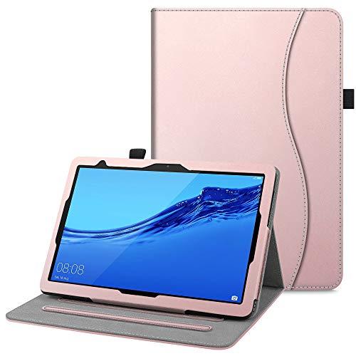 Fintie Hülle für Huawei MediaPad T5 10 - Multi-Winkel Flip Betrachtung Kunstleder Schutzhülle mit Dokumentschlitze für Huawei MediaPad T5 10 10.1 Zoll 2018 Tablet PC,Roségold